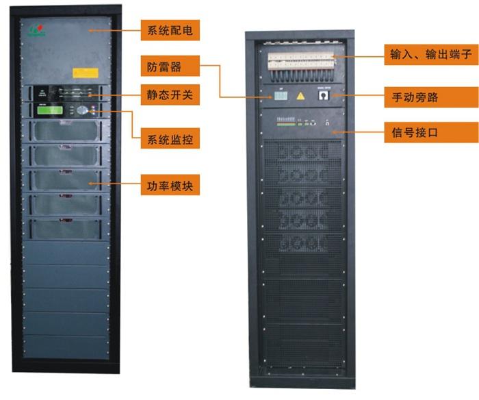 l 系统容量有60KVA、100KVA、150KVA、200KVA四个系列,功率模块为6KVA、10KVA、15KVA、20KVA四个功率范围,用户可根据负载大小随意选择。 l 系统为模块式结构,由静态开关模块、系统监控模块和1到10个功率模块并联组成。 l 功率模块可采用热插拔模式随意进行扩充、更换。 l 系统可随需设定为1/1、1/3、3/1或3/3的进出线方式。 l 为冗余可升级系统,N+X冗余,可根据你需求进行在线升级扩容。 l 采用无主从并联、多级分散式控制技术,无运行瓶颈、性能可靠。 l 所有